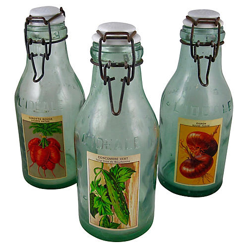 French L'Ideale Preserve Bottles, S/3