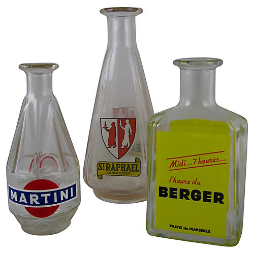 French Bistro Liquor Carafes, S/3