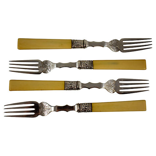 English Bone & Silver Forks, S/4