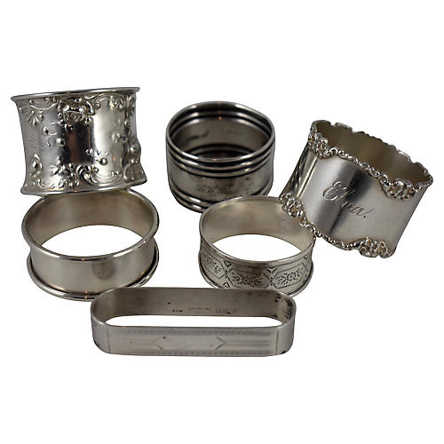 Sterling Silver Napkin Rings, Mixed S/6