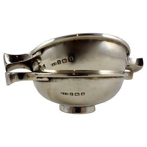 English Sterling Condiment Bowls, Pair