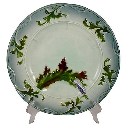 Faïence Art Nouveau Asparagus Plate