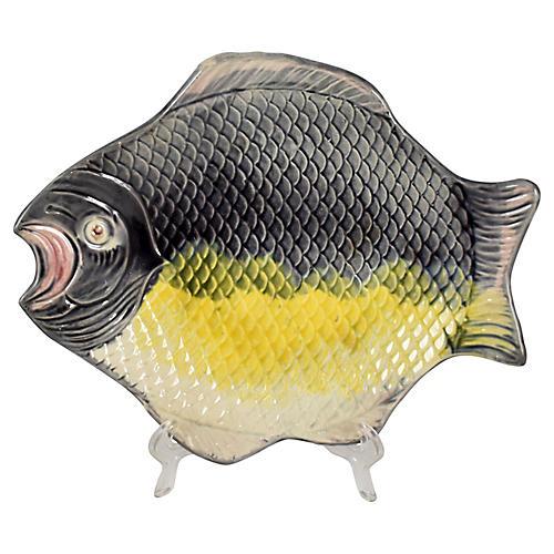 French Majolica Flat Fish Platter