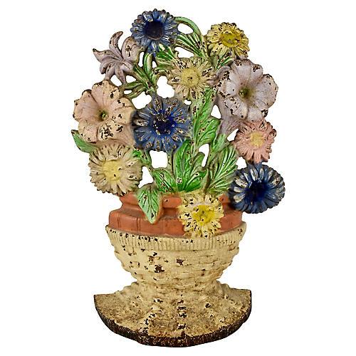Cast Iron Basket of Petunias Doorstop
