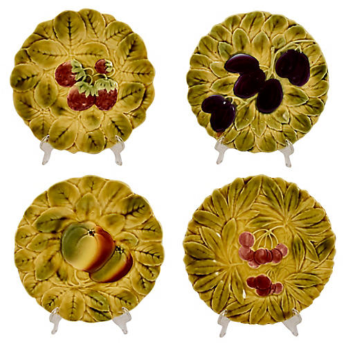 Sarreguemines Faience Fruit Plates, S/4