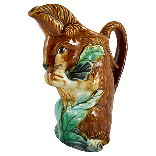 French Barbotine Squirrel w/ Nut Pitcher