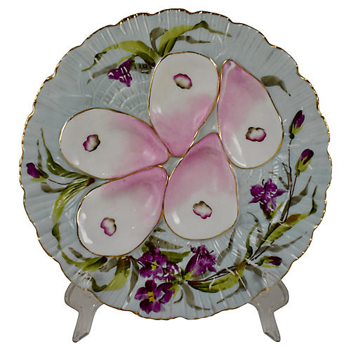 French Porcelain Blue Shell Oyster Plate