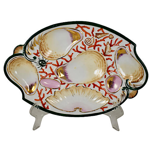 Porcelain Scroll-Shape Oyster Plate