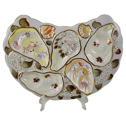 Satsuma Porcelain Floral Oyster Plate