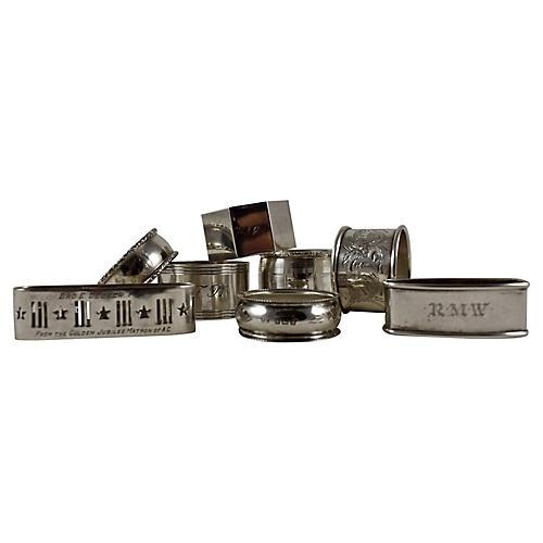 Sterling Silver Napkin Rings, S/8