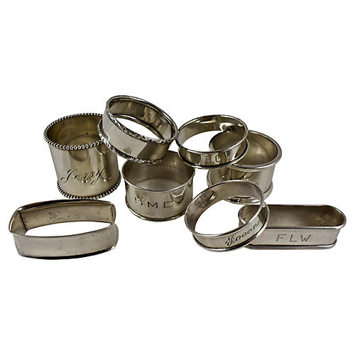 Sterling Silver Napkin Rings, S/8