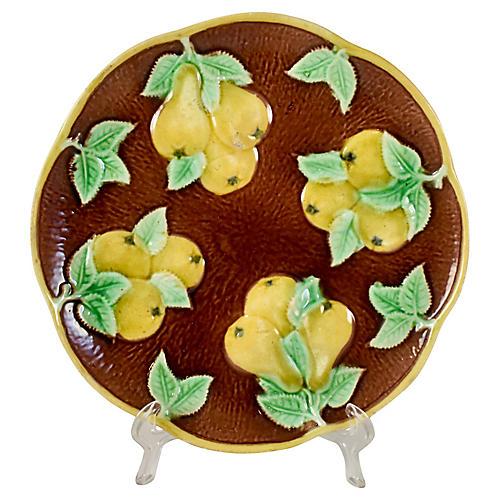 English Majolica Yellow Pear Plate