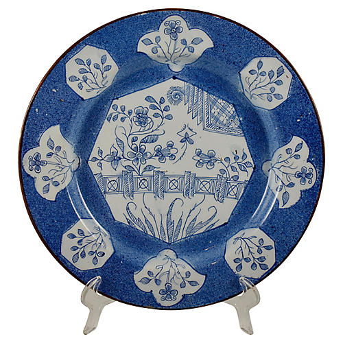 18th-C English Bristol Delftware Charger