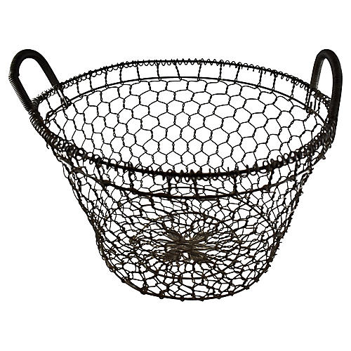 19th-C. French Country House Wire Basket