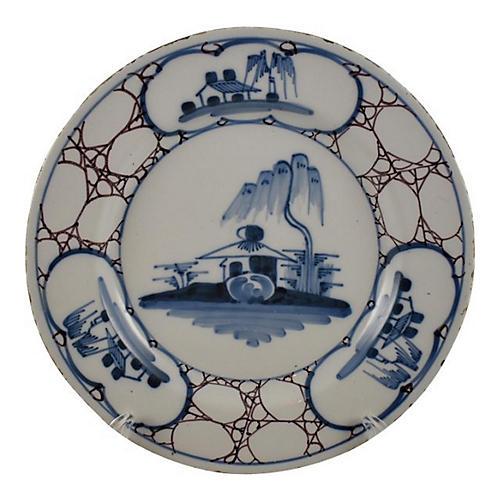 18-C English Bristol Delft Marble Plate