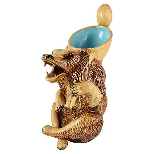 19-C. Honey Bear Majolica Pitcher