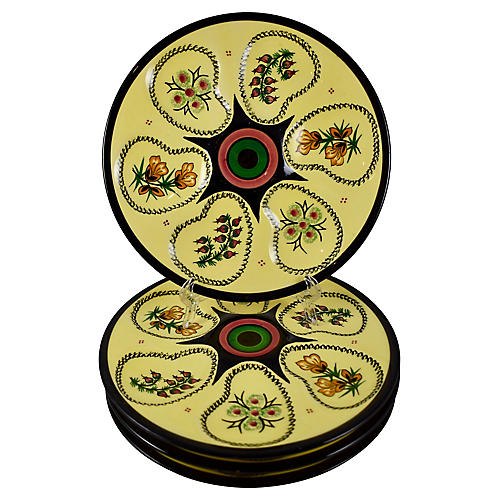 Midcentury Quimper Oyster Plates, S/4
