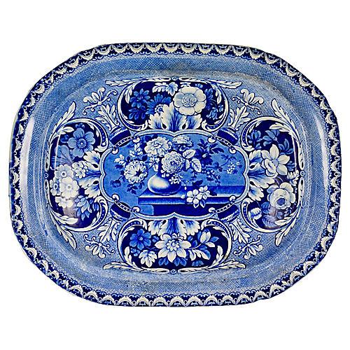 19th-C. English Davenport Floral Platter
