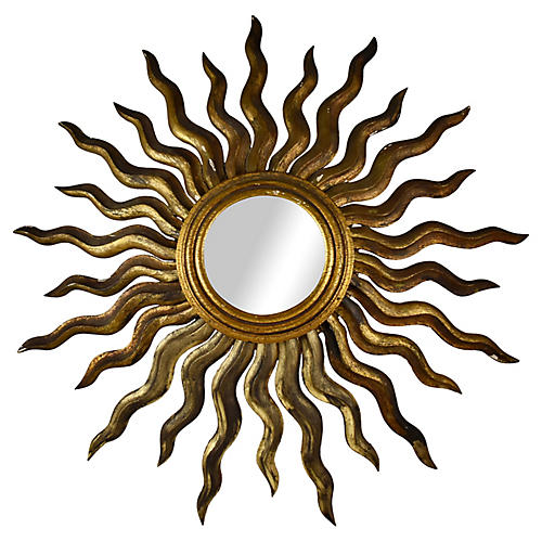 French Giltwood Sunburst Wall Mirror