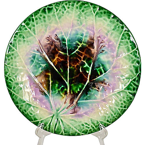 English Majolica Begonia Leaf Plate