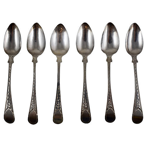 English Sterling Silver Teaspoons, S/6
