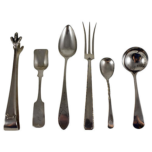 Estate Sterling Silver Servers, 6 Pcs