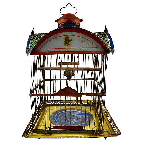 19th-C. Hendryx Japanned Birdcage