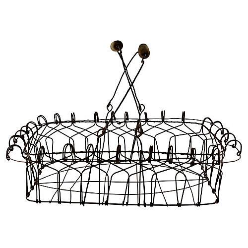 Folk Art Wire Basket w/ Wooden Handles