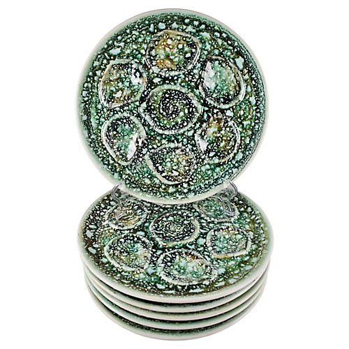 Niderviller Mousse Oyster Plates, S/6