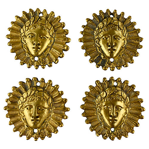 French Ormolu Sun King Medallions, S/4
