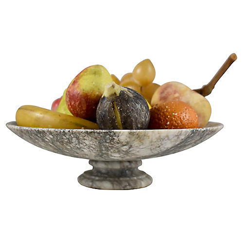 Marble Tazza & Alabaster Fruit, 9 Pcs.