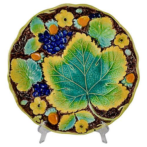 Alcock Majolica Grape Leaf Plate