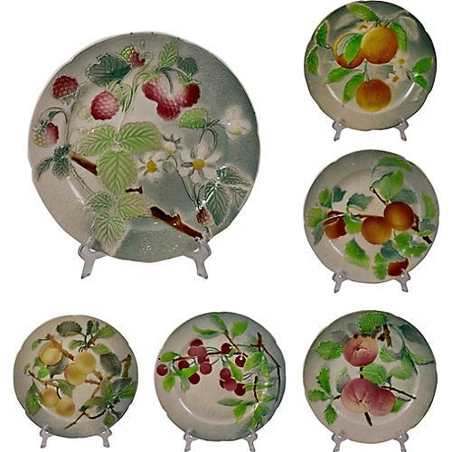 St. Clement Faïence Fruit Plates, S/6