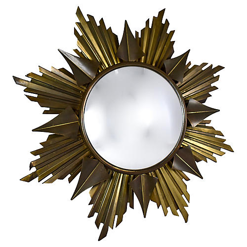 Midcentury French Brass Sunburst Mirror