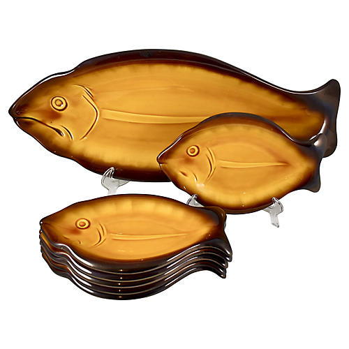 Mid-Century French Fish Service, S/7