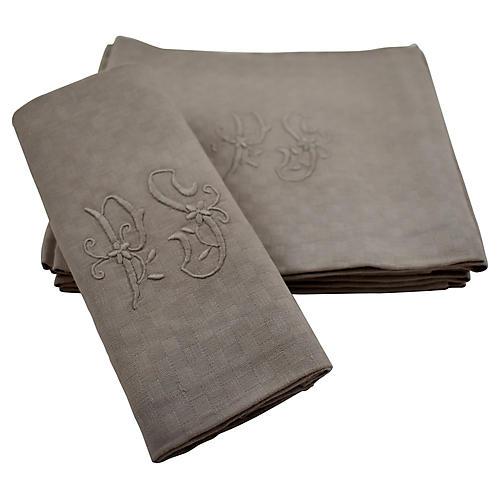 Dove Gray French Linen Napkins S/6