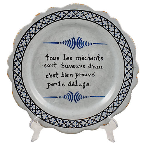 French Nevers Motto Plate, C.1790