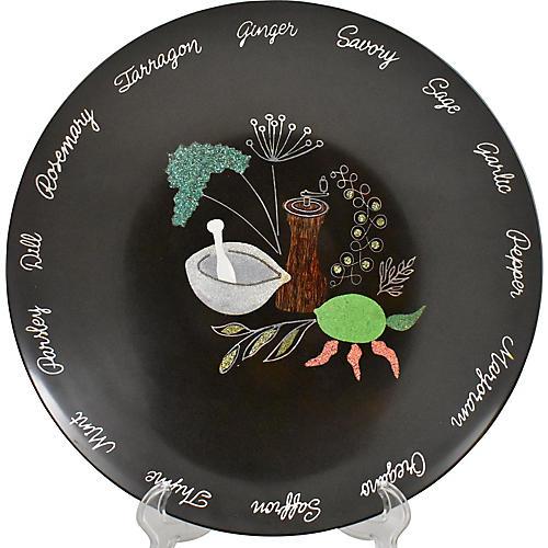 Mid-Century Couroc Herb Inlay Salad Bowl