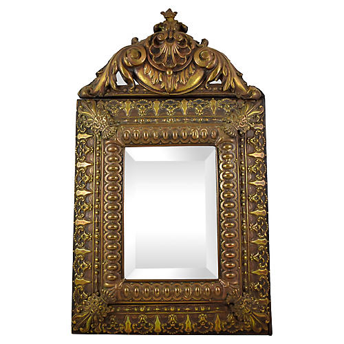 18th-C. Patinated Metal Rocaille Mirror
