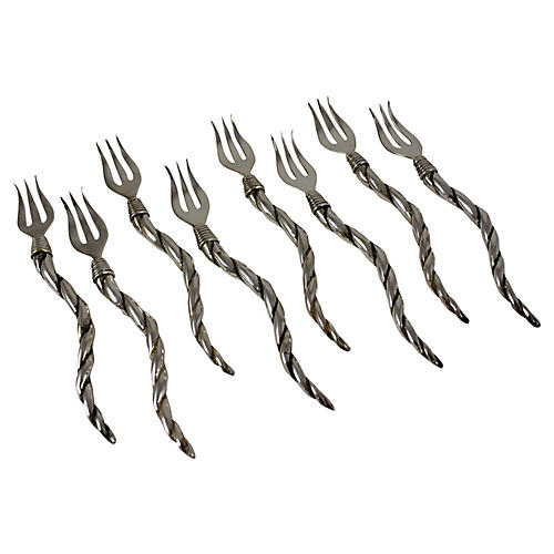 Italian Silver Cocktail Forks, S/8