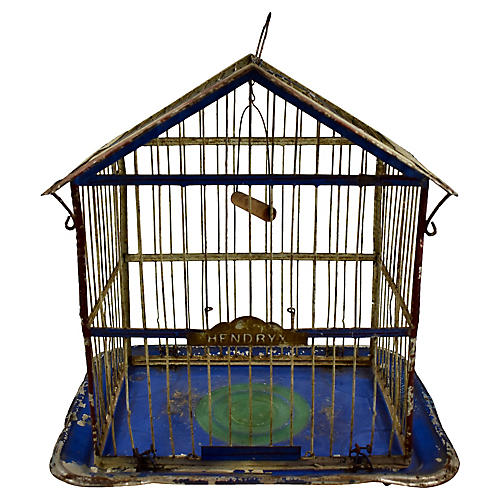 19th-C. Hendryx Japanned Metal Birdcage