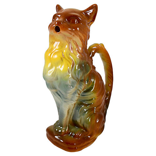 French Majolica Cat Absinthe Pitcher