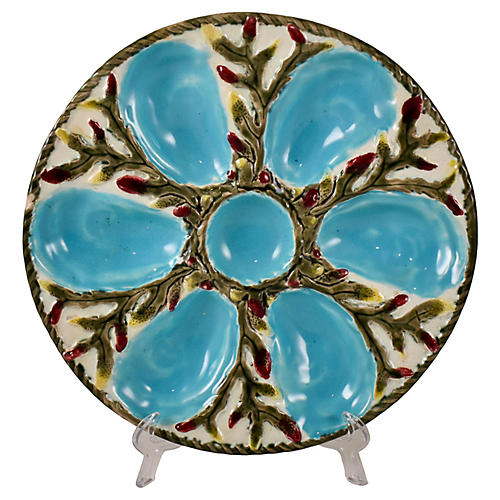 English Fielding Majolica Oyster Plate