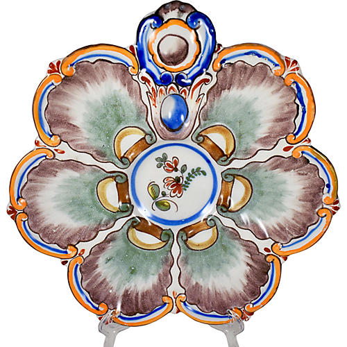 French Hand-Painted Faience Oyster Plate