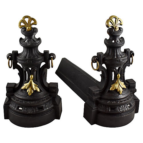French Bronze & Cast Iron Andirons