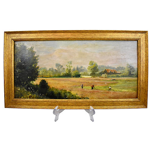 19-C English Pastoral Oil Painting
