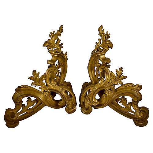 Second Empire French Bronze Andirons