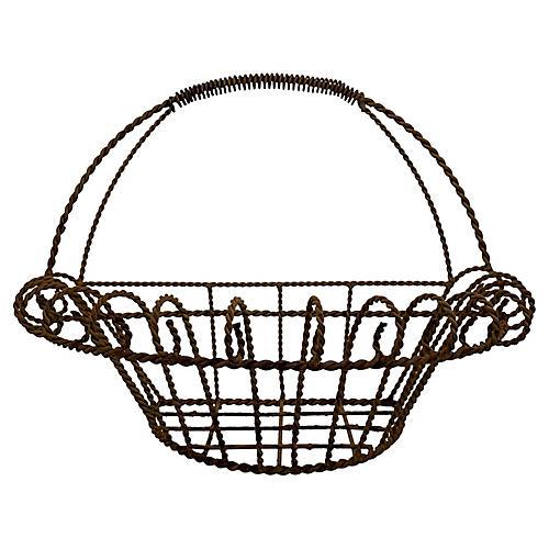 19th-C French Iron Half-Round Jardinière