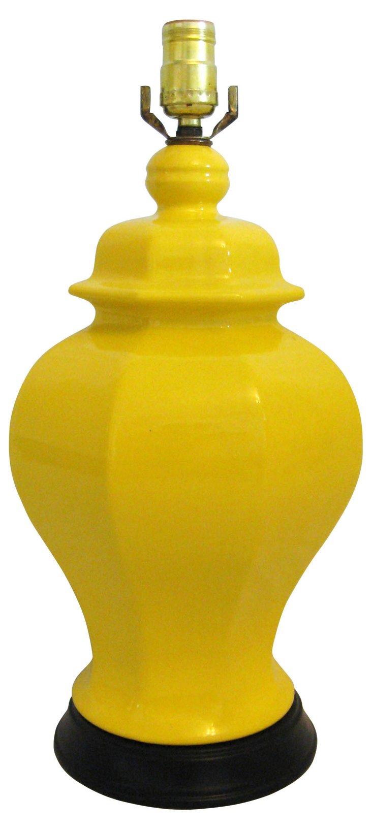 Bright Yellow Ginger Jar Lamp