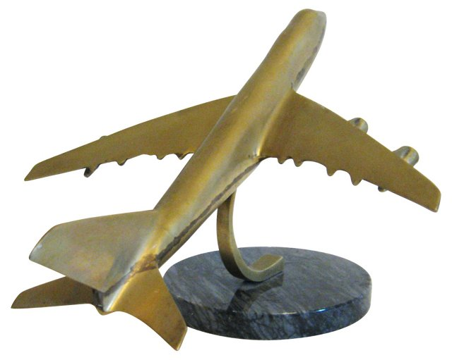 Brass Jet on Marble Stand